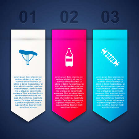 Set Bicycle seat, Sport bottle with water and suspension. Business infographic template. Vector