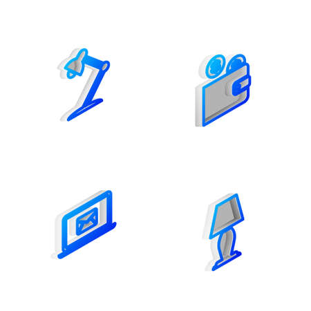 Set Isometric line Wallet with coin, Table lamp, Laptop envelope and icon. Vector 向量圖像