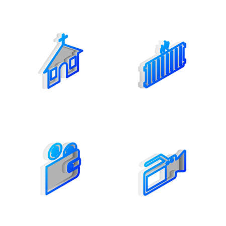Set Isometric line Heating radiator, Church building, Wallet with coin and Cinema camera icon. Vector
