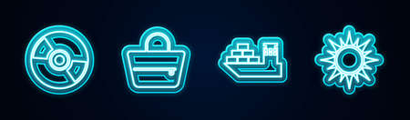 Set line CD or DVD disk, Handbag, Cargo ship and Sun. Glowing neon icon. Vector