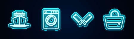 Set line Ship, Washer, Crossed meat chopper and Handbag. Glowing neon icon. Vector 向量圖像