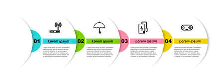 Set line Router and wifi, Umbrella, Power bank and Gamepad. Business infographic template. Vector