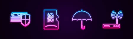 Set line Money protection, Micro SD memory card, Umbrella and Router and wifi. Glowing neon icon. Vector