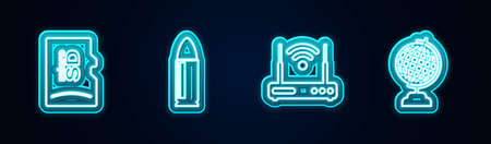 Set line Micro SD memory card, Bullet, Router and wifi and Earth globe. Glowing neon icon. Vector