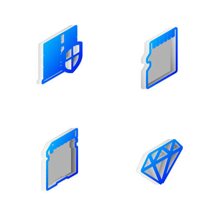 Set Isometric line Micro SD memory card, Server with shield, and Diamond icon. Vector 矢量图像