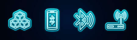 Set line Isometric cube, Smartphone with bluetooth, Bluetooth connected and Router and wi-fi. Glowing neon icon. Vector