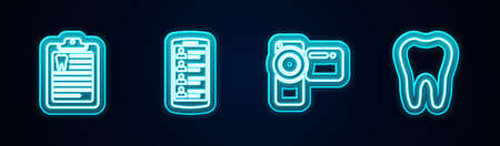 Set line Clipboard with dental card, Smartphone contacts, Cinema camera and Tooth. Glowing neon icon. Vector