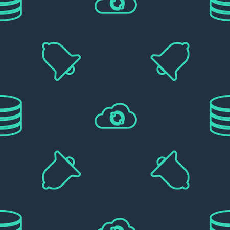 Set line Cloud sync refresh, Ringing bell and Database on seamless pattern. Vector