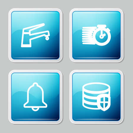 Set line Water tap, Stopwatch, Ringing bell and Database protection icon. Vector  イラスト・ベクター素材