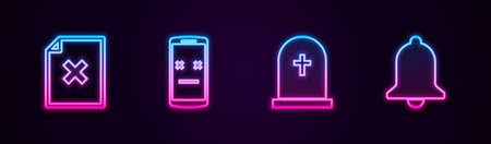 Set line Delete file document, Dead mobile, Tombstone with cross and Ringing bell. Glowing neon icon. Vector