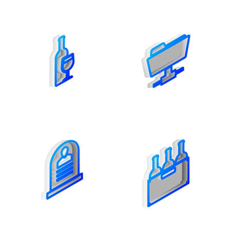 Set Isometric line FTP folder, Wine bottle with glass, Tombstone RIP written and Bottles of wine box icon. Vector 矢量图像