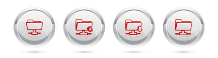 Set line FTP folder, sync refresh, download and . Silver circle button. Vector