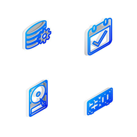 Set Isometric line Calendar with check mark, Setting database server, Hard disk drive HDD and Digital alarm clock icon. Vector 向量圖像