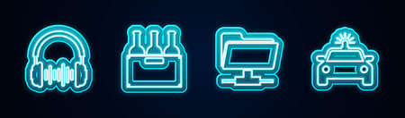 Set line Headphone and sound waves, Bottles of wine in box, FTP folder and Police car flasher. Glowing neon icon. Vector