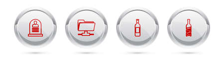 Set line Tombstone with RIP written, FTP folder, Bottle of wine and . Silver circle button. Vector 矢量图像