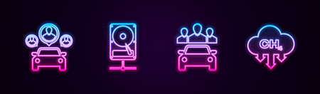 Set line Car sharing, Hard disk drive on network, and Methane emissions reduction. Glowing neon icon. Vector