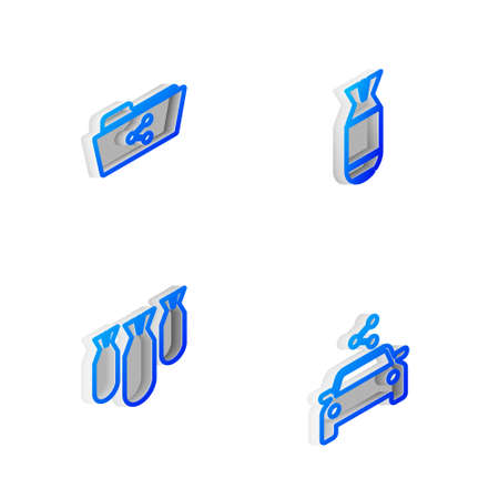 Set Isometric line Aviation bomb, Share folder, bombs and Car sharing icon. Vector