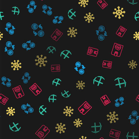 Set line Cryptocurrency exchange, Crossed pickaxe, Distribution and wallet on seamless pattern. Vector
