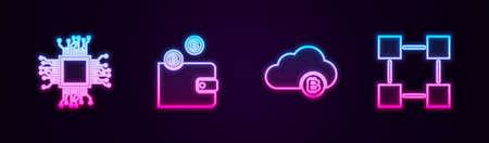Set line Processor, Cryptocurrency wallet, cloud mining and Blockchain technology. Glowing neon icon. Vector