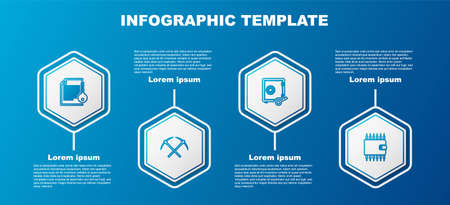 Set line Smart contract, Crossed pickaxe, Proof of stake and Cryptocurrency wallet. Business infographic template. Vector 向量圖像