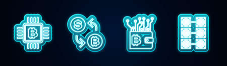 Set line CPU mining farm, Cryptocurrency exchange, wallet and Mining. Glowing neon icon. Vector 向量圖像