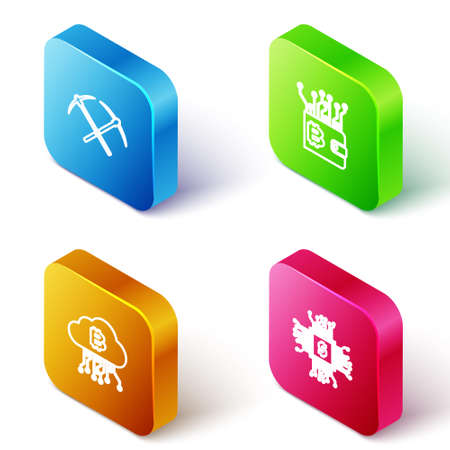 Set Isometric line Crossed pickaxe, Cryptocurrency wallet, cloud mining and Processor chip with dollar icon. Vector