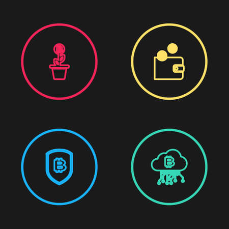 Set line Shield with bitcoin, Cryptocurrency cloud mining, wallet and Bitcoin plant the pot icon. Vector 向量圖像