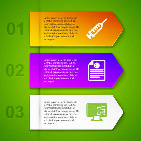 Set line Syringe, Clinical record, on monitor and Genetic engineering. Business infographic template. Vector