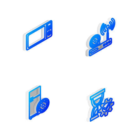 Set Isometric line Router and wifi setting, Microwave oven, Refrigerator and Hourglass icon. Vector