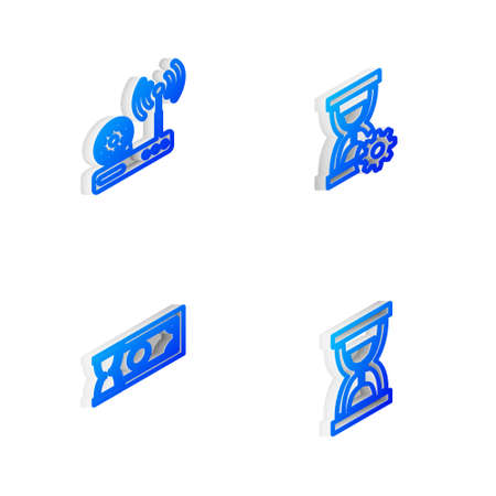Set Isometric line Hourglass setting, Router and wifi, Fast payments and Old hourglass with sand icon. Vector