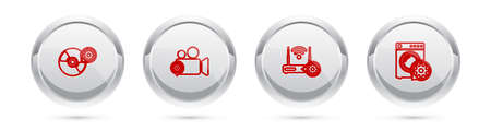 Set line CD or DVD disk setting, Video camera, Router and wifi and Washer. Silver circle button. Vector