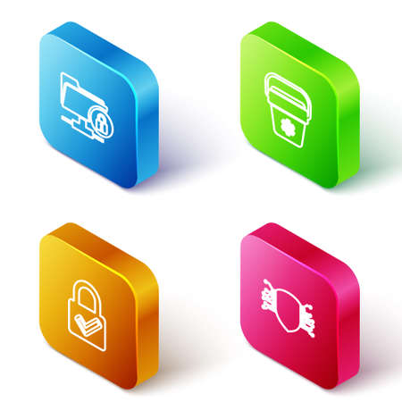 Set Isometric line FTP folder and lock, Cooler bag, Lock check mark and Cyber security icon. Vector