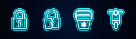 Set line Lock, Broken or cracked lock, Cooler bag and Scooter. Glowing neon icon. Vector