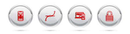 Set line Mobile and face recognition, Bezier curve, Two steps authentication and Lock. Silver circle button. Vector 矢量图像