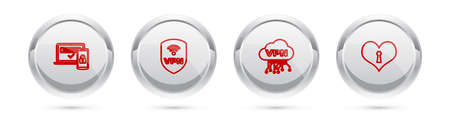 Set line Two steps authentication, Shield with VPN wireless, Cloud interface and Heart keyhole. Silver circle button. Vector