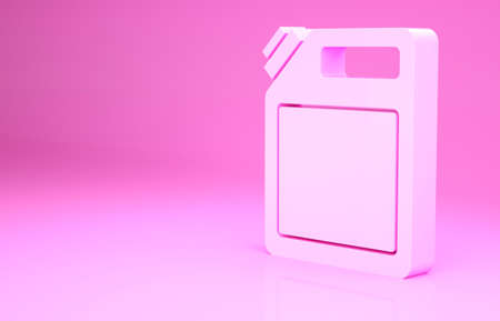 Pink Canister for gasoline icon isolated on pink background. Diesel gas icon. Minimalism concept. 3d illustration 3D render