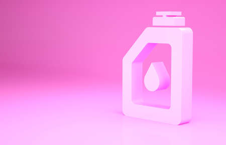 Pink Canister for motor machine oil icon isolated on pink background. Oil gallon. Oil change service and repair. Engine oil sign. Minimalism concept. 3d illustration 3D render