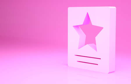 Pink Hollywood walk of fame star on celebrity boulevard icon isolated on pink background. Famous sidewalk, boulevard actor. Minimalism concept. 3d illustration 3D render