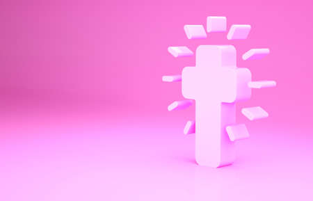 Pink Christian cross icon isolated on pink background. Church cross. Minimalism concept. 3d illustration 3D render Archivio Fotografico