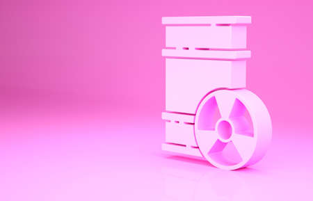 Pink Radioactive waste in barrel icon isolated on pink background. Toxic refuse keg. Radioactive garbage emissions, environmental pollution. Minimalism concept. 3d illustration 3D render