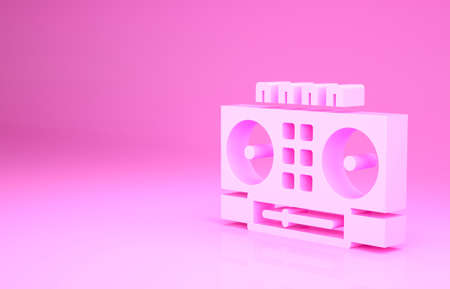 Pink DJ remote for playing and mixing music icon isolated on pink background. DJ mixer complete with vinyl player and remote control. Minimalism concept. 3d illustration 3D render