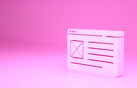 Pink Browser window icon isolated on pink background. Minimalism concept. 3d illustration 3D render