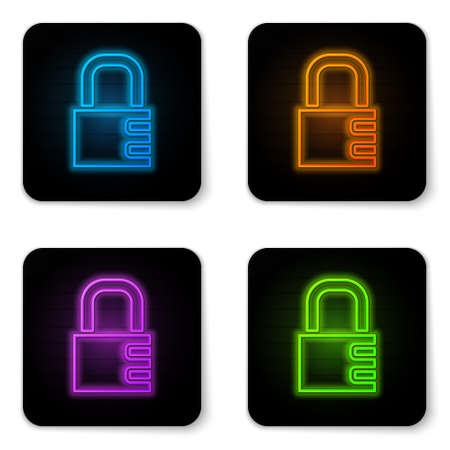 Glowing neon Safe combination lock icon isolated on white background. Combination padlock. Security, safety, protection, password, privacy. Black square button. Vector 向量圖像