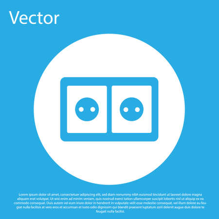 Blue Electrical outlet icon isolated on blue background. Power socket. Rosette symbol. White circle button. Vector 矢量图像