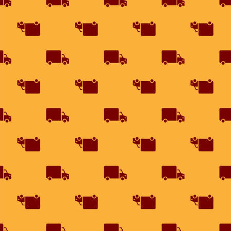 Red Delivery cargo truck vehicle icon isolated seamless pattern on brown background. Vector