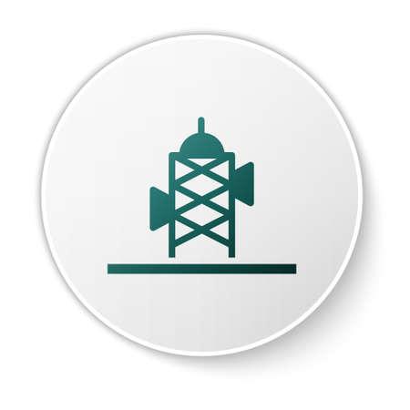 Green Antenna icon isolated on white background. Radio antenna wireless. Technology and network signal radio antenna. White circle button. Vector