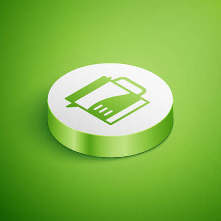 Isometric Electric kettle icon isolated on green background. Teapot icon. White circle button. Vector 矢量图像
