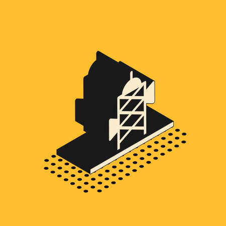Isometric Antenna icon isolated on yellow background. Radio antenna wireless. Technology and network signal radio antenna. Vector