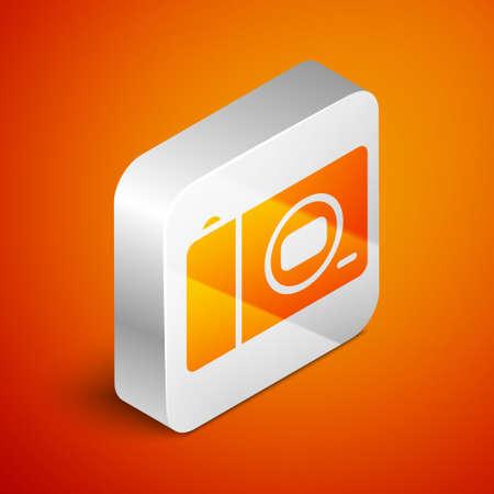 Isometric Photo camera icon isolated on orange background. Foto camera icon. Silver square button. Vector Ilustracja