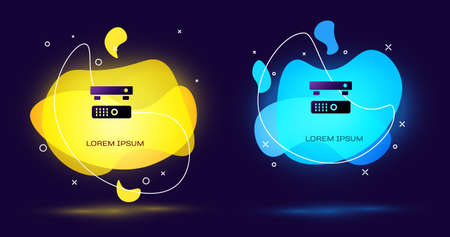 Black Multimedia and TV box receiver and player with remote controller icon isolated on black background. Abstract banner with liquid shapes. Vector